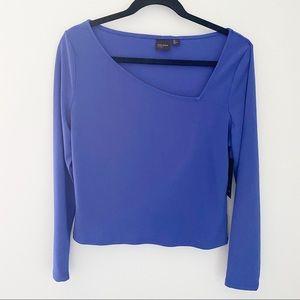 Free Press Asymmetrical Neck& Long sleeve Blue Top